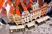 stock photo of red roof  - Aerial view of Old Town Square - JPG