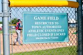 Baseball Restriction Sign