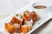 stock photo of pork belly  - deep fried pork belly with liver sauce also known as lechon kawali