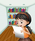 Illustration of a girl reading her notes in a paper