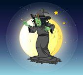 Ilustración de una bruja en la luna llena