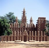 stock photo of mud-hut  - Mud mosque of Dogon village Kani - JPG