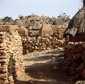 image of dogon  - Traditional Graineries in Dogon village Lower Idjeli Mali - JPG