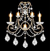 Included Sconces With Crystal Pendants On Black