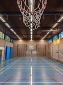 picture of bleachers  - Interior of a gym at school old gym in Holland - JPG