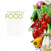 fresh vegetables on the white background - healthy or vegetarian eating concept (with easy removable