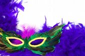 foto of mardi gras mask  - Closeup view of a feathered masquerade mask isolated against a white background - JPG