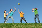 Healthy Kids Playing Ball Outdoors