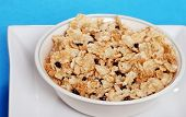 Closeup Bowl Of Cereal With Dried  Blueberries