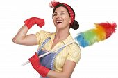stock photo of broom  - young happy beautiful woman maid dusting on white background - JPG