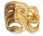 stock photo of comedy  - Comedy  and  Tragedy theatrical mask isolated on a white background - JPG