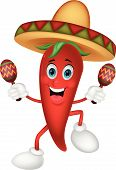 Happy chili pepper cartoon dancing with maracas