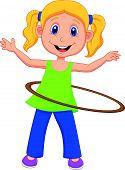 stock photo of hulahoop  - Vector illustration of Cute girl cartoon twirling hula hoop - JPG