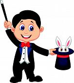 stock photo of sorcerer  - Magician cartoon pulling out a rabbit from his top hat - JPG