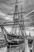 stock photo of mast  - USS Constitution wooden - JPG
