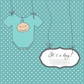 Baby boy arrival announcement card.