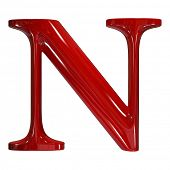 3d shiny red plastic ceramic uppercase letter - N
