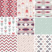 stock photo of geometric  - Seamless geometric pattern in aztec style - JPG