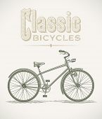 Vintage illustration with a classic cruiser bicycle. Raster image. Find an editable version in my portfolio.