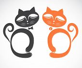 pic of cat-tail  - Vector image of an cat on a white background - JPG