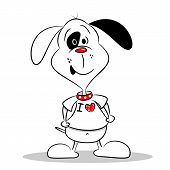 A cartoon dog in a white I love heart t-shirt