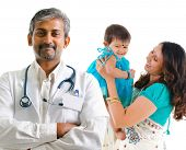 picture of pediatrics  - Smiling Indian medical doctor and patient family - JPG