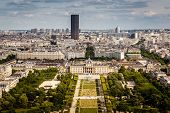 Aerial View On Champ De Mars From The Eiffel Tower, Paris, France