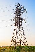 High Voltage Line And Evening Sky