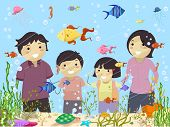 Illustration of Stickman Family Looking at an Aquarium in Oceanarium