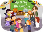 Illustration of Stickman Kids having Halloween Party at School