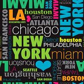 Seamless USA city typography background pattern in vector