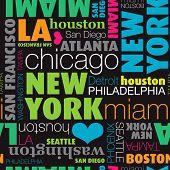 Sem costura EUA cidade tipografia base padrão em vetor