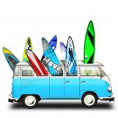 Van hippies and colorful surfers