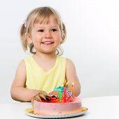 Three Year Old With Birthday Cake.