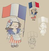 Cute Smiling Cartoon Girl In Sans Culottes Costum