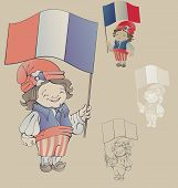 Cute Smiling Cartoon Boy In Sans Culottes Costum