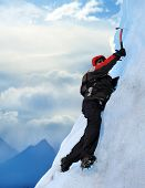 stock photo of mountain-climber  - A Mountain climber at Perito Moreno Glacier Patagonia Argentina - JPG