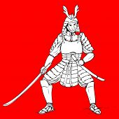 image of shogun  - Hand drawn illustration of a samurai on red background - JPG