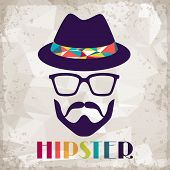 stock photo of beard  - Hipster background in retro style - JPG