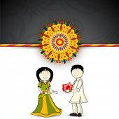 image of rakshabandhan  - Brother giving gift to his sister - JPG