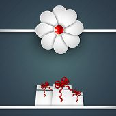 Indian festival Raksha Bandhan background with beautiful rakhi and gift boxes.