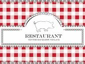 pig blackboard lace menu restaurant ,cloth pattern vector