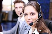 picture of telephone operator  - Call center operators at work - JPG