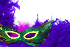 picture of mardi gras mask  - Closeup view of a feathered masquerade mask isolated against a white background - JPG