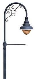 stock photo of lamp post  - A post supporting a street lamp with decorative scrollwork and a place for a banner - JPG