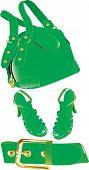 Green handbag ,belt and shoes