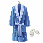 Vector Blue Bathrobe And White Slippers