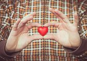 Heart Shape Love Symbol In Man Hands Valentines Day Romantic Greeting People Relationship Concept Wi