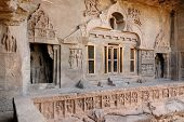 stock photo of ellora  - Buddhist temples bored in rocks in the Ellora town in India Maharashtra India  - JPG