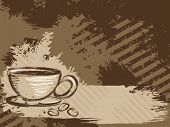 Horizontal grungy coffee background
